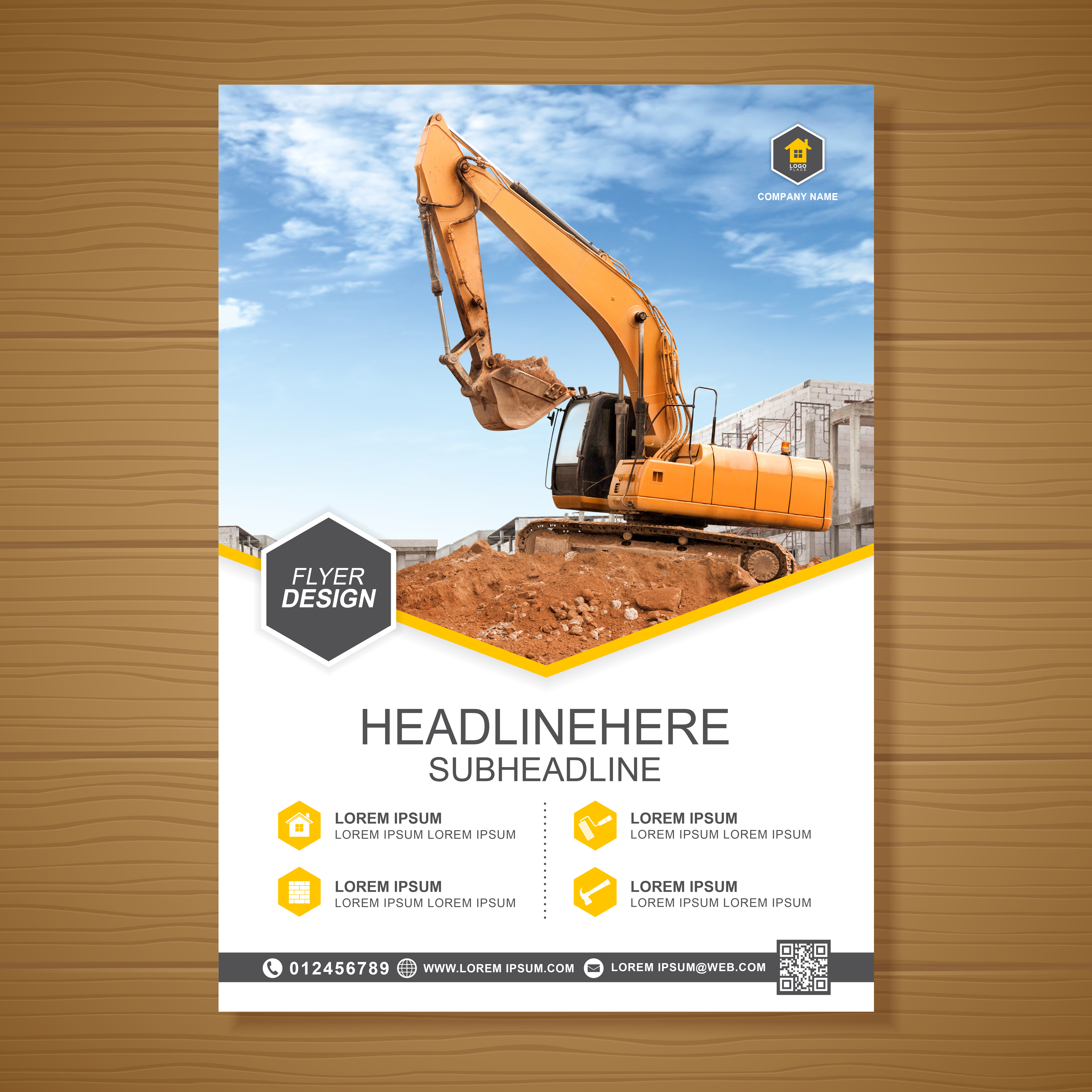 excavator or dozer cover a4 template for construction