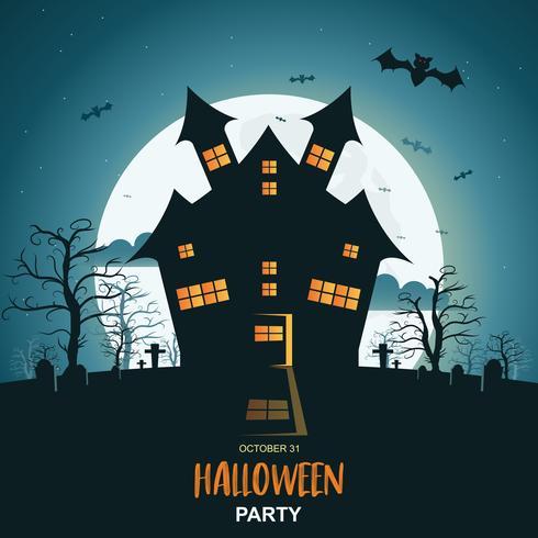 Fondo de la noche de Halloween con calabaza y castillo oscuro bajo la luz de la luna