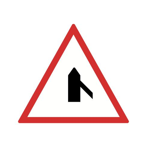 Vector Cruz menor carretera desde el icono de signo de carretera derecha