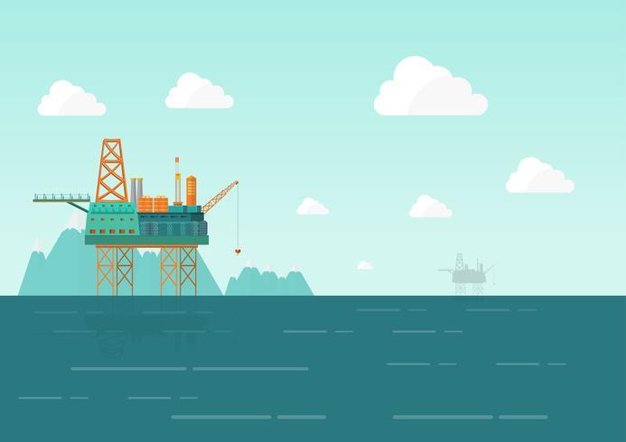 Plataforma de perforación en el mar. Plataforma petrolera, combustible de gas en ilustración vectorial plana paisaje vector