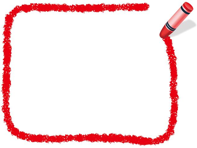 Red rectangle crayon frame, vector illustration.