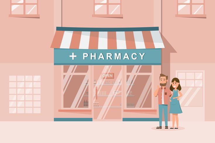 Fachada de farmacia en la fachada de la ciudad.