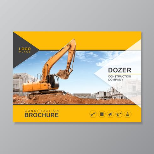 Excavator or dozer cover A4 template for construction brochure design, flyer, leaflets decoration for printing and presentation vector illustration