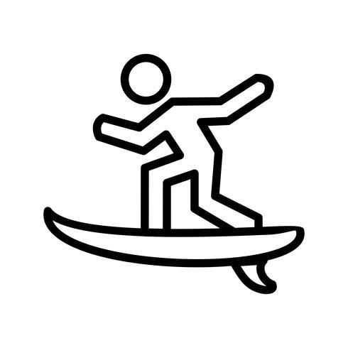 Surf Ikon Vektor Illustration