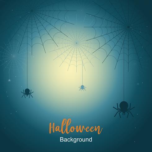 Fondo de la noche de Halloween con tela de araña bajo la luz de la luna. vector