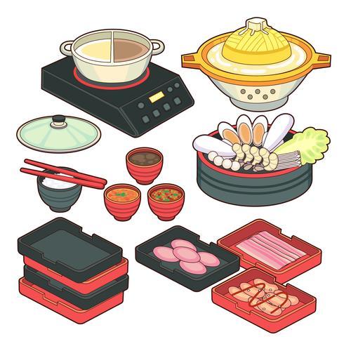 Japanische leere Gerichte im realistischen Stil. Verschiedene Schüsseln, Pfannen, Bretter für Sushi, Essstäbchen lokalisiert auf weißem Hintergrund. Kochen von Vektor-Illustration-Sammlung. Küchenobjekte für Ihr Design