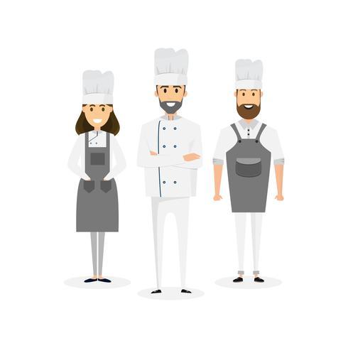 Group of professional chefs, man and woman chefs. Restaurant team concept. vector