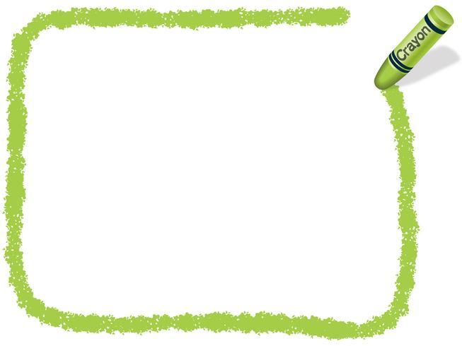 Gelbgrüner Rahmen mit Wachsmalstift.