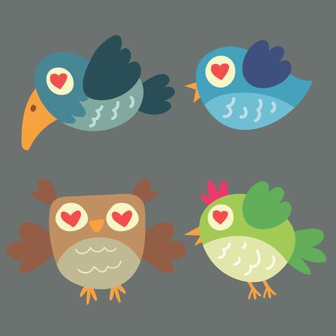 Conjunto de diferentes pássaros fofos e coruja