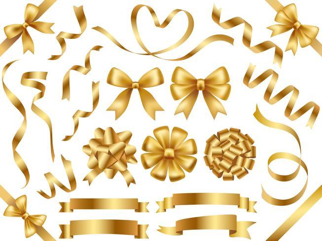 Set di nastri d'oro assortiti isolato su sfondo bianco.