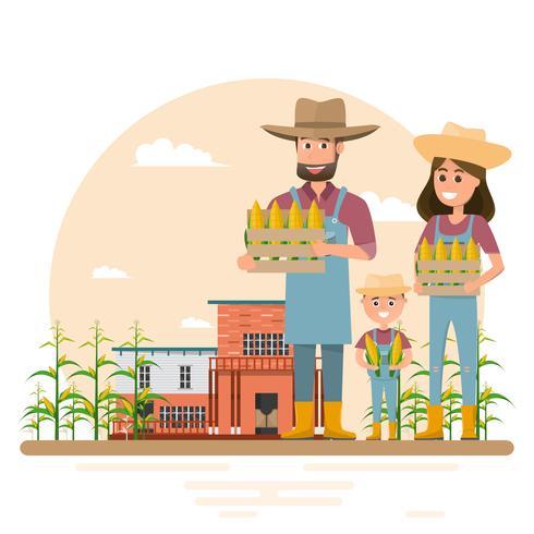 happy farmer family cartoon character