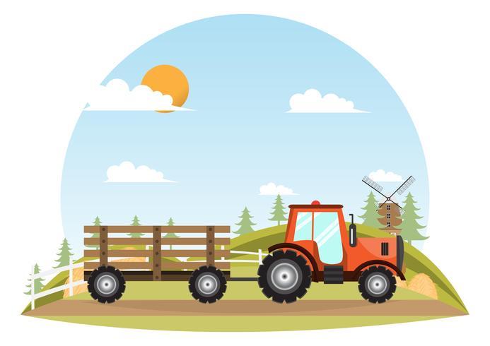 Tractor. Farmer machine delivery inside farm