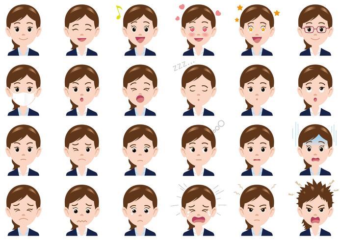 Varie espressioni della donna di affari fissate.