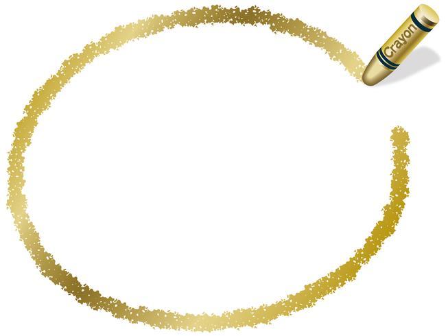 Gold ellipse crayon frame, vector illustration.