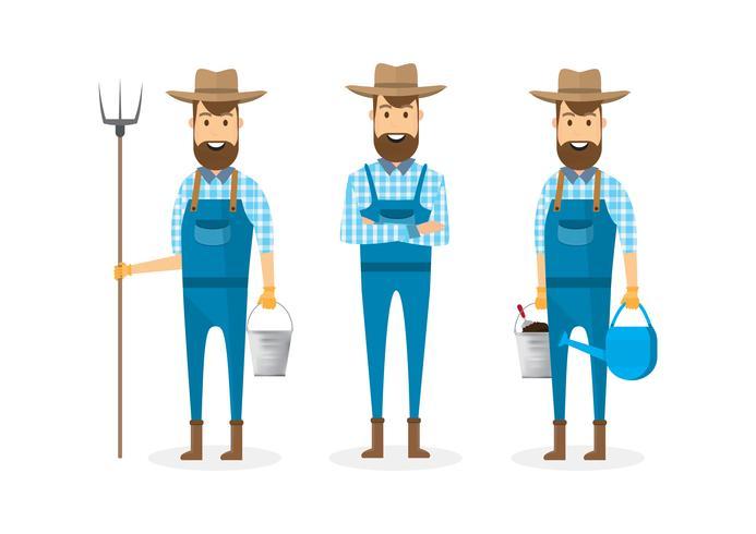 Landwirtzeichentrickfilm-figur lokalisiert auf weißem Hintergrund