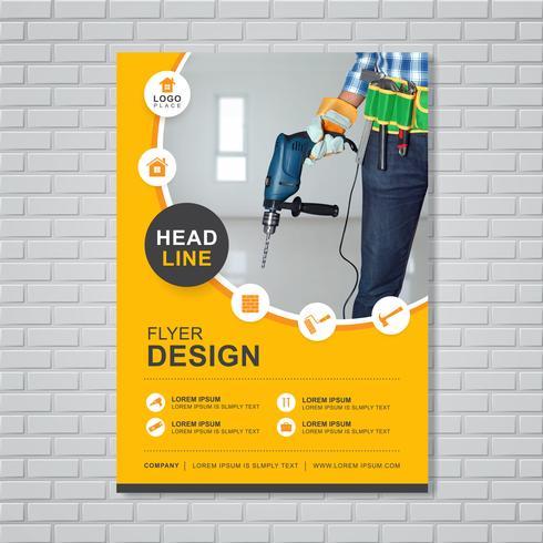 Las herramientas de construcción cubren la plantilla a4 para un informe y diseño de folleto, folleto, pancarta, decoración de folletos para la ilustración de impresión y presentación de vectores