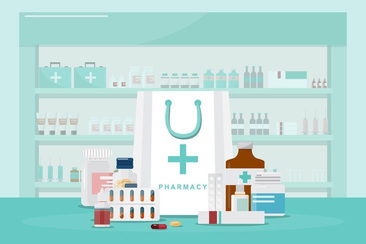 Conjunto de frascos de remédios, drogas e pílulas na farmácia de contador vetor