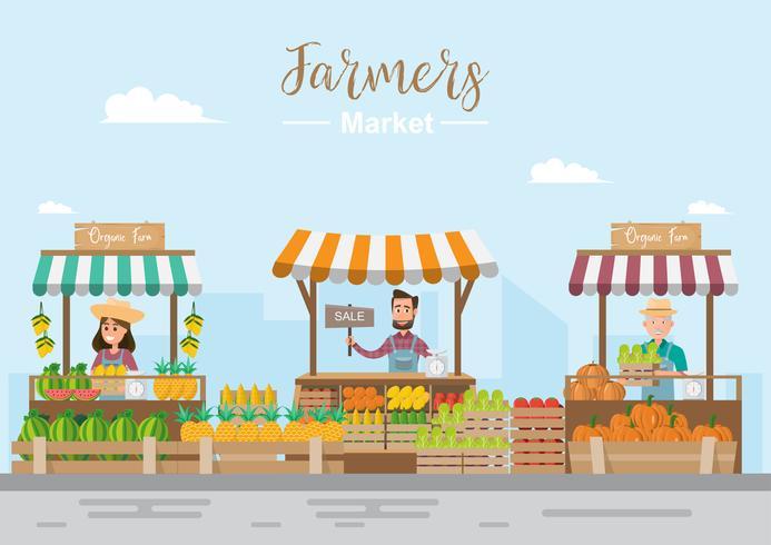 Magasin de la ferme. Marché local. Vente de fruits et légumes.
