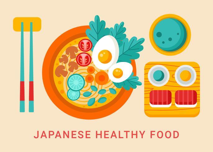 Vecteur de nourriture saine japonaise