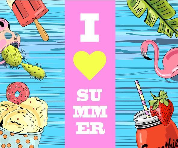 Amo poster lettering estate su fondo di legno blu con gelato, frullato, fenicottero e cactus.