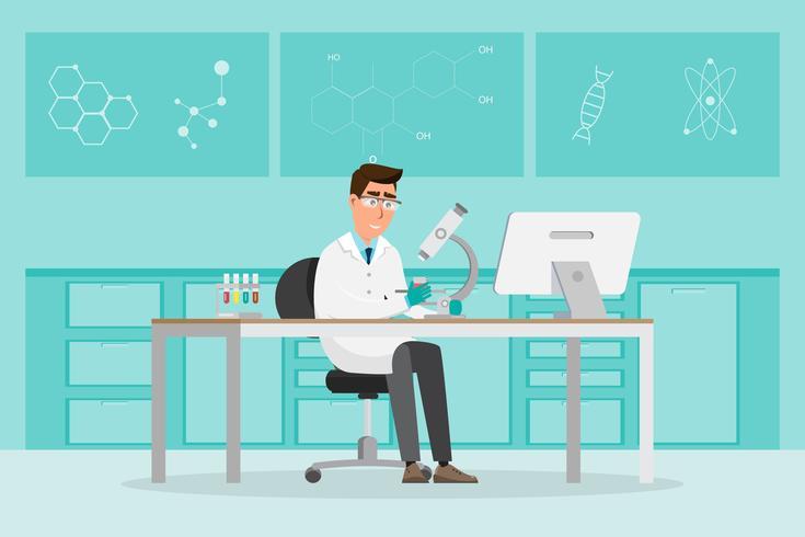 concepto medico Los científicos investigan en un laboratorio de laboratorio.
