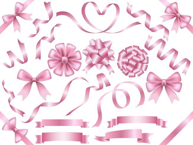 Set di nastri rosa assortiti isolato su sfondo bianco.