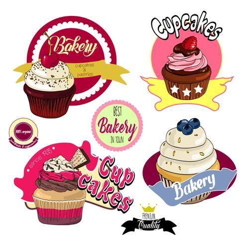 Vintage Cupcakes Bäckerei Abzeichen und Etiketten.