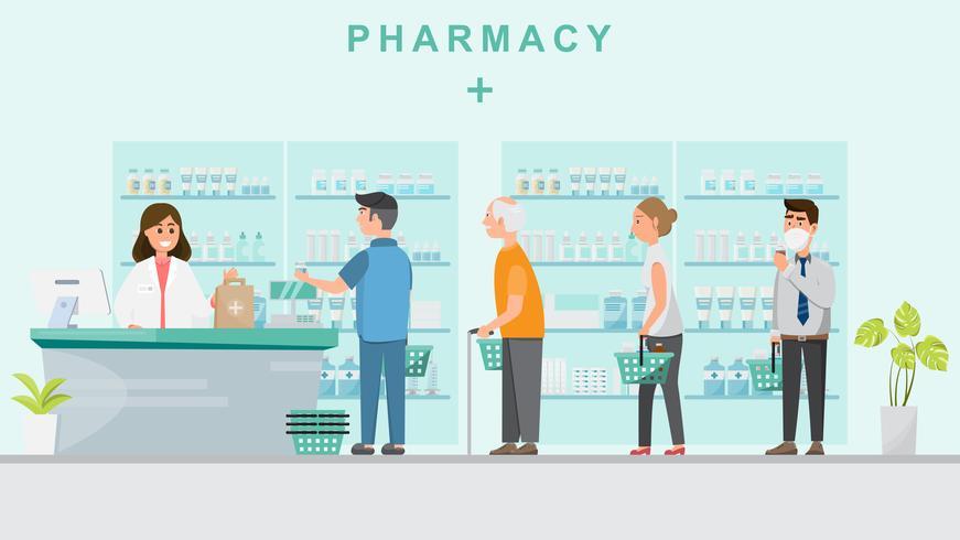 Farmacia con farmacéutico en mostrador y gente comprando medicinas.