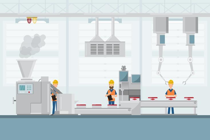Fábrica industrial inteligente en un estilo plano con trabajadores, robots y líneas de ensamblaje. vector