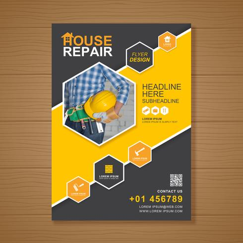 Ferramentas de construção cobrem modelo a4 para um design de relatório e folheto, panfleto, banner, decoração de folhetos para impressão e apresentação de ilustração vetorial