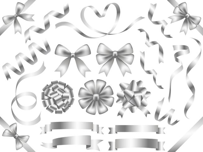 Set of assorted silver ribbons isolated on white background