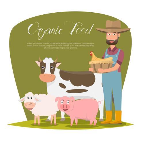 felice personaggio dei cartoni animati di famiglia contadino in fattoria rurale biologica.