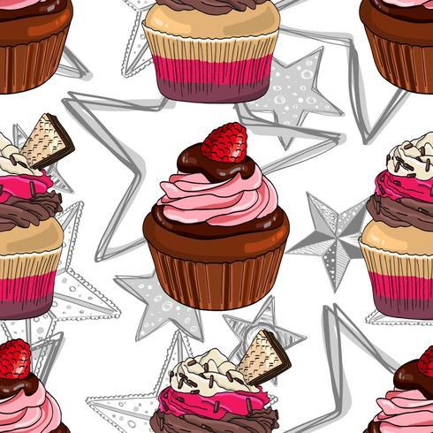 Patrón sin fisuras con cupcakes y estrellas.