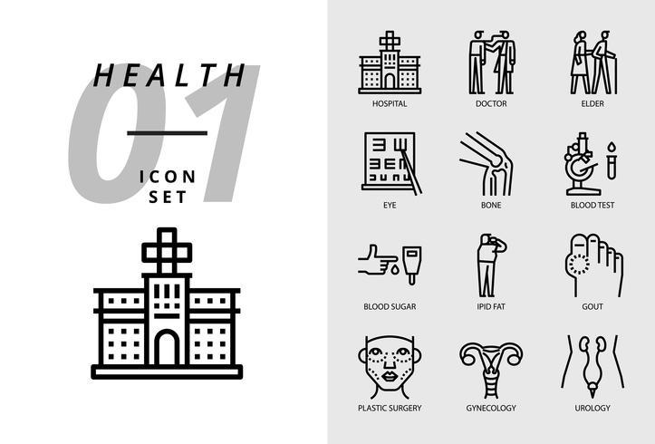 Paquete de iconos para la salud, hospital, médico, anciano, ojo, hueso, análisis de sangre, azúcar en la sangre, grasa ipid, gota, cirugía plástica, ginecología, urología.