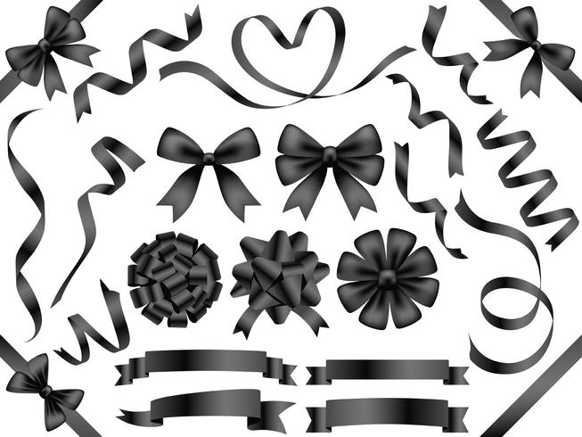 Set of assorted black ribbons isolated on white background.