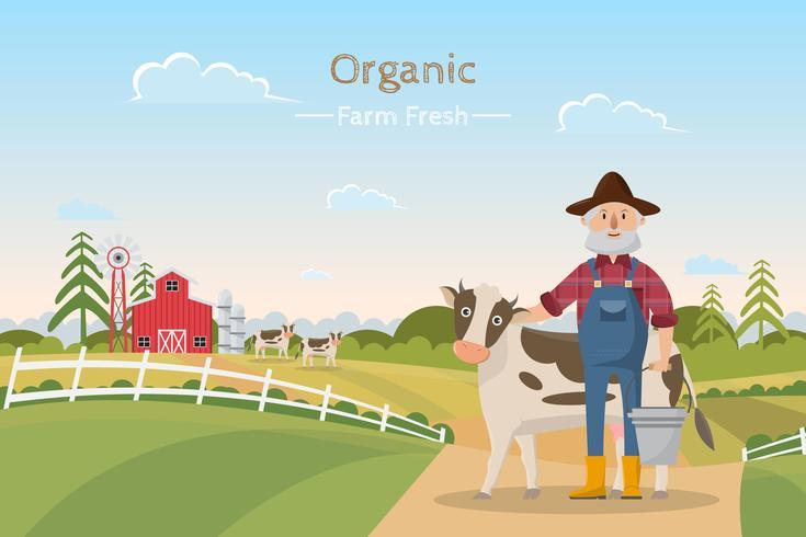 personnage de dessin animé de famille de fermier heureux dans une ferme rurale biologique
