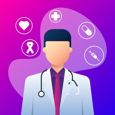 Medische pictogrammen en arts met een stethoscoop