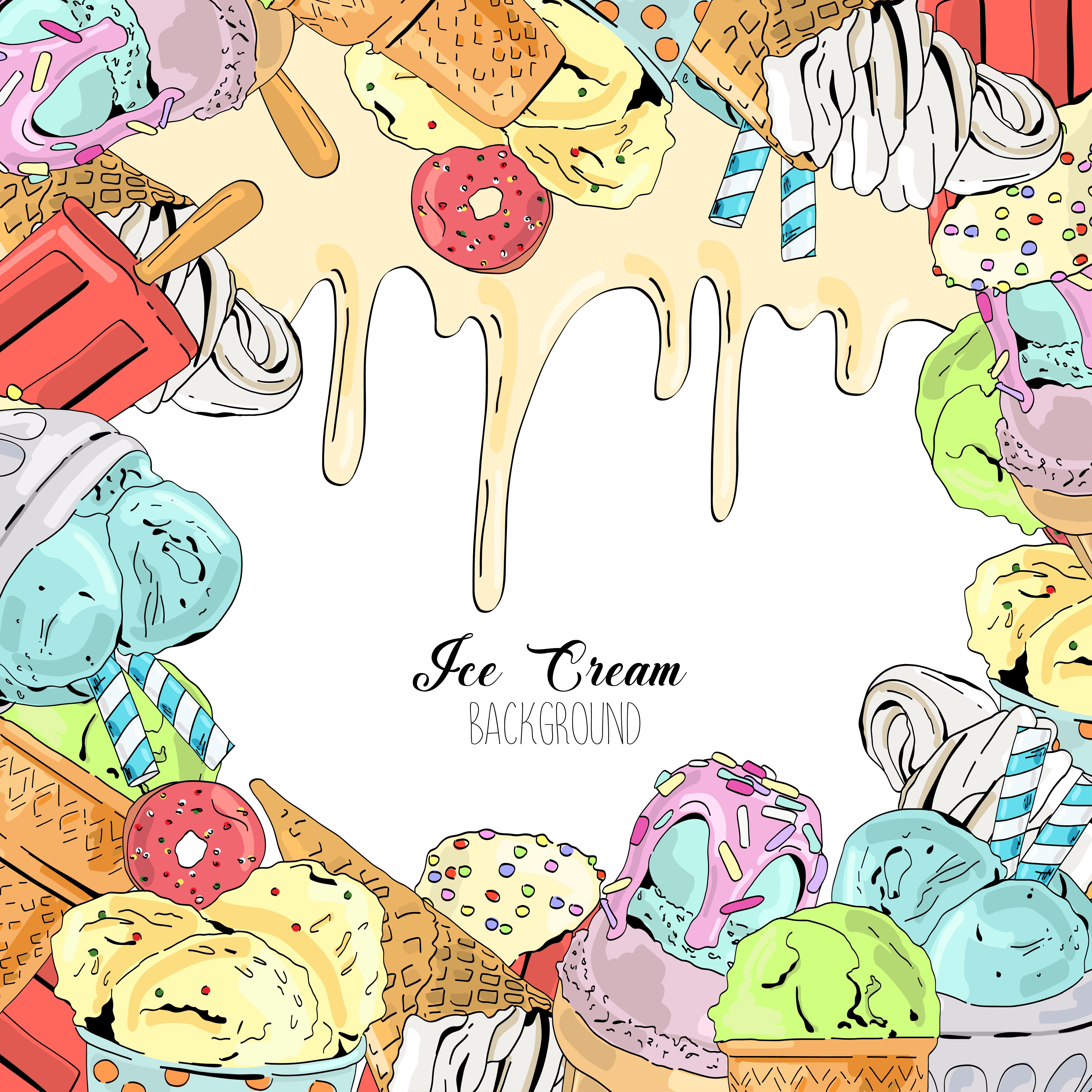Cartoon Cute Colorful Vector Hand Drawn Ice Cream
