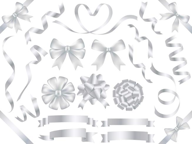 Set of assorted pearl-colored ribbons isolated on white background.