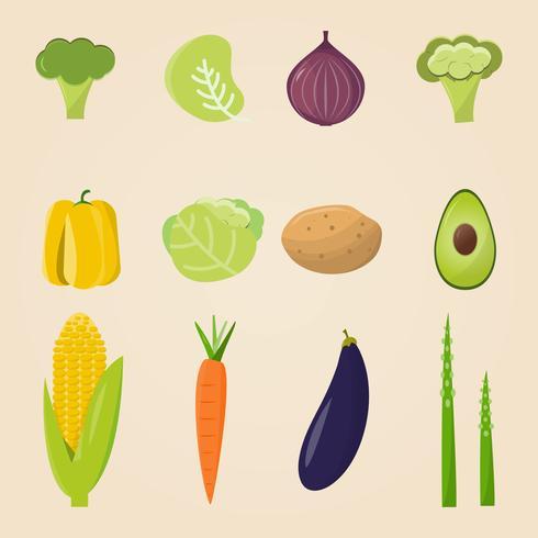 Alimentos orgánicos. Ilustración vectorial, conjunto de verduras y frutas.