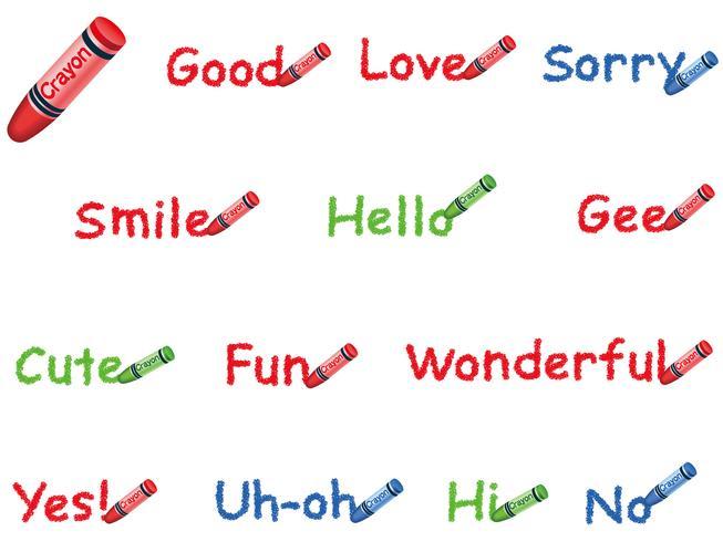 Set van woorden geschreven met kleurrijke kleurpotloden.