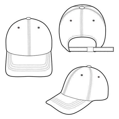 d5636efb51b Baseball Cap fashion flat sketch template - Download Free Vector Art ...