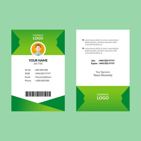 Cartão de identificação verde 8