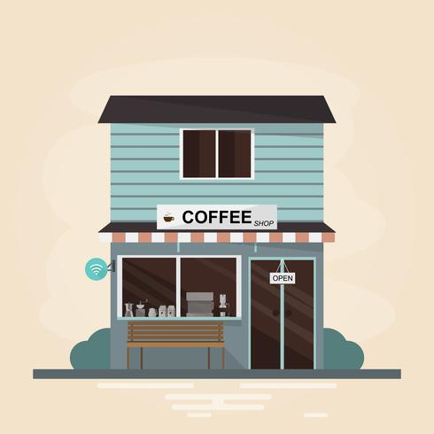 moderne coffeeshop gebouw. Set elementen winkel constructie.