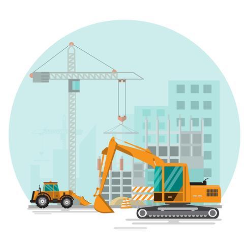 Construcción de obra en obra con grúas y máquinas. vector