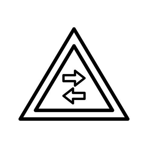 Vecteur trafic bidirectionnel traverse l'icône de panneau de signalisation à sens unique