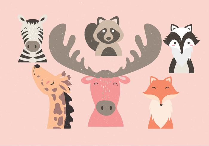 Animal Faces Set Vol 2 Vector