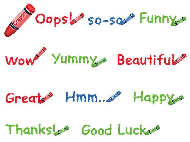 Set van woorden geschreven met kleurrijke kleurpotloden, geïsoleerd op een witte achtergrond.