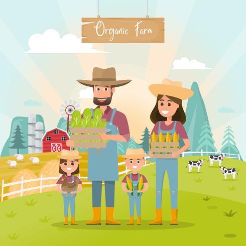 happy farmer family cartoon character in organic farm