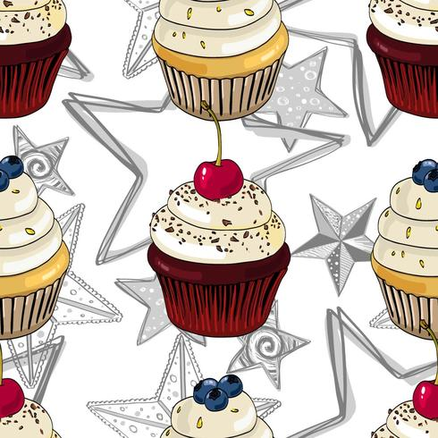 Seamless pattern with cupcakes and stars. vector